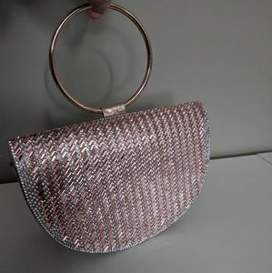 Rose Gold Shimmering Ring Clutch NWT